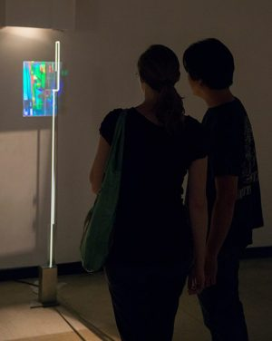 Sam Moree 'Print Out Dance #3' 1985   Exhibition view Interference:Coexsitance, HoloCenter at the Clock Tower of Long Island City, 2014   Artwork courtesy of the MIT Museum
